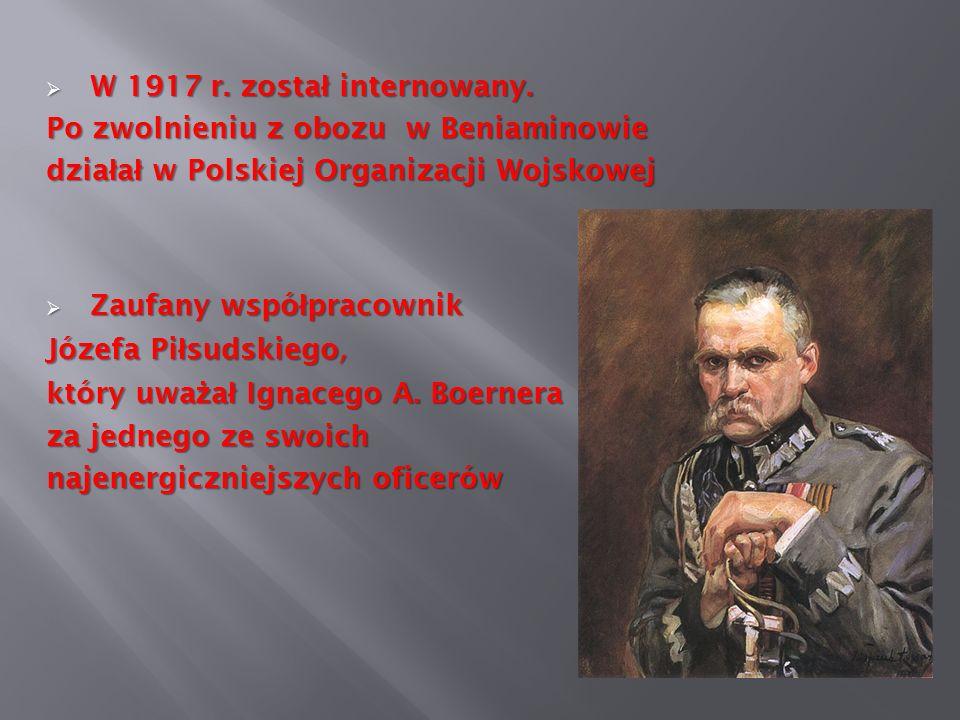 W 1917 r. został internowany.Po zwolnieniu z obozu w Beniaminowie. działał w Polskiej Organizacji Wojskowej.