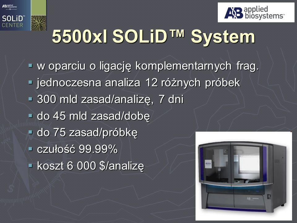 5500xl SOLiD™ System w oparciu o ligację komplementarnych frag.