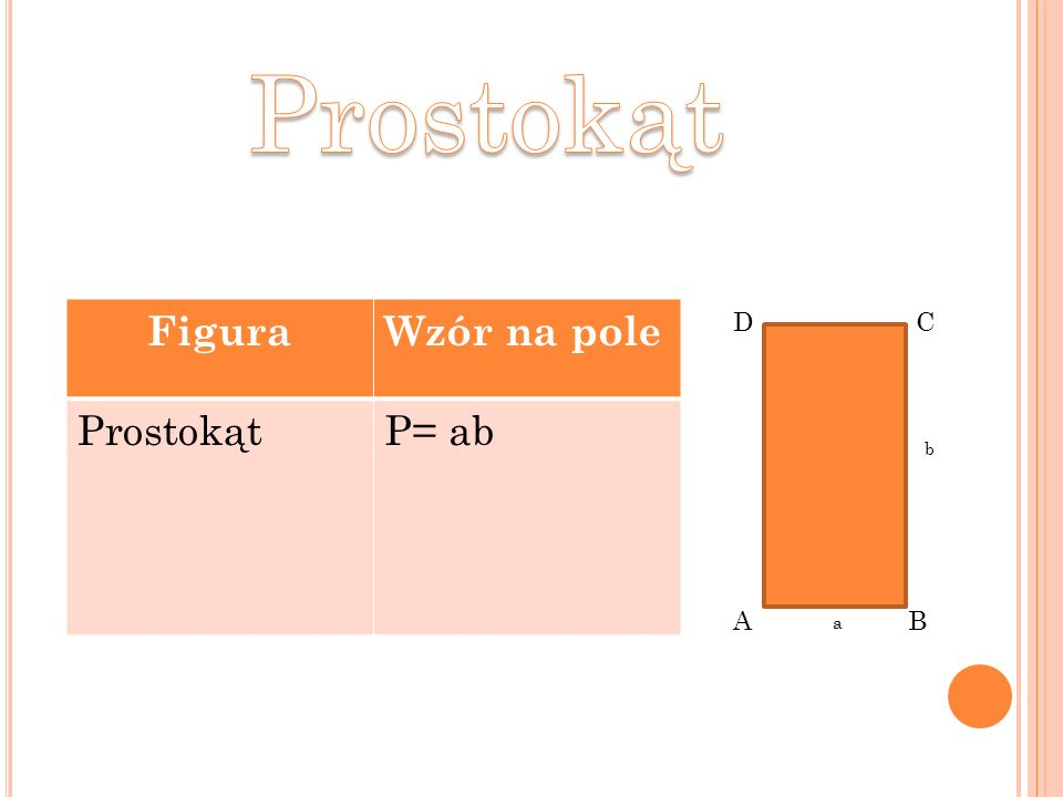 Prostokąt Figura Wzór na pole Prostokąt P= ab D C b A B a