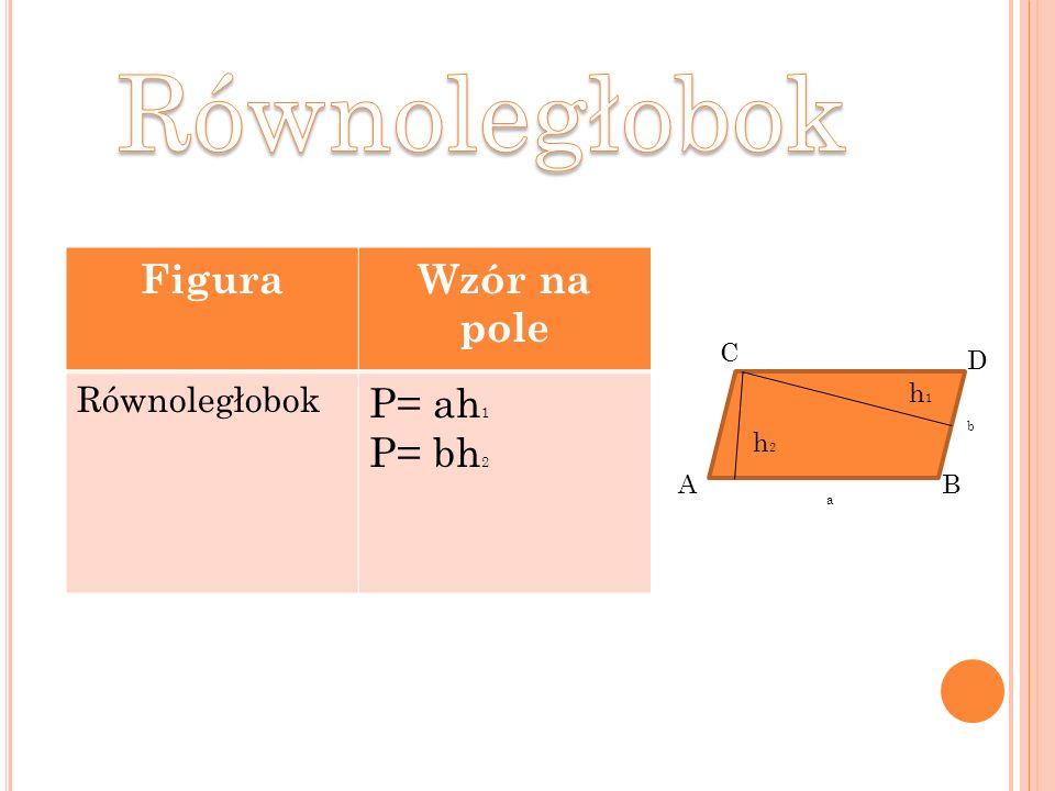 Równoległobok Figura Wzór na pole P= ah1 P= bh2 Równoległobok C D h1