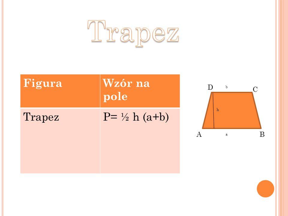 Trapez Figura Wzór na pole Trapez P= ½ h (a+b) D b C h A B a