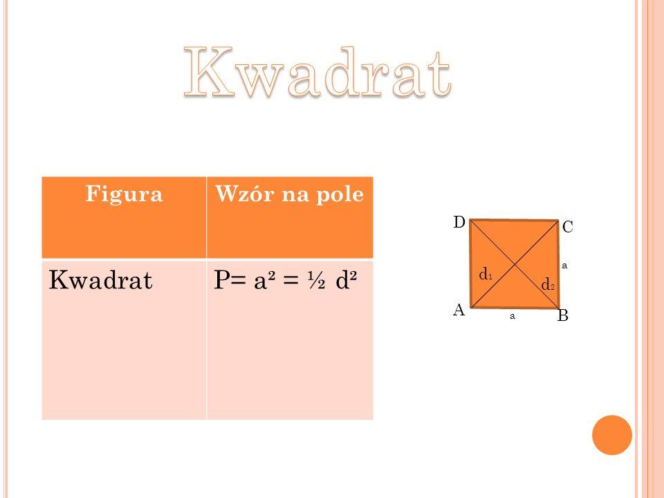 Kwadrat Figura Wzór na pole Kwadrat P= a² = ½ d² D C a d1 d2 A B a