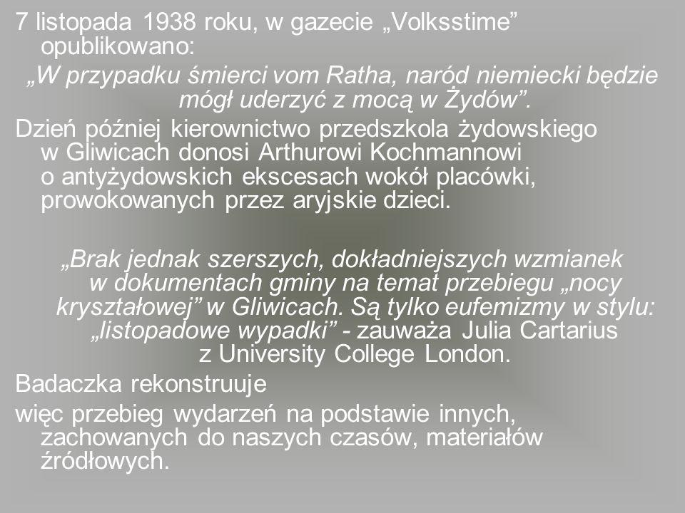 """7 listopada 1938 roku, w gazecie """"Volksstime opublikowano:"""