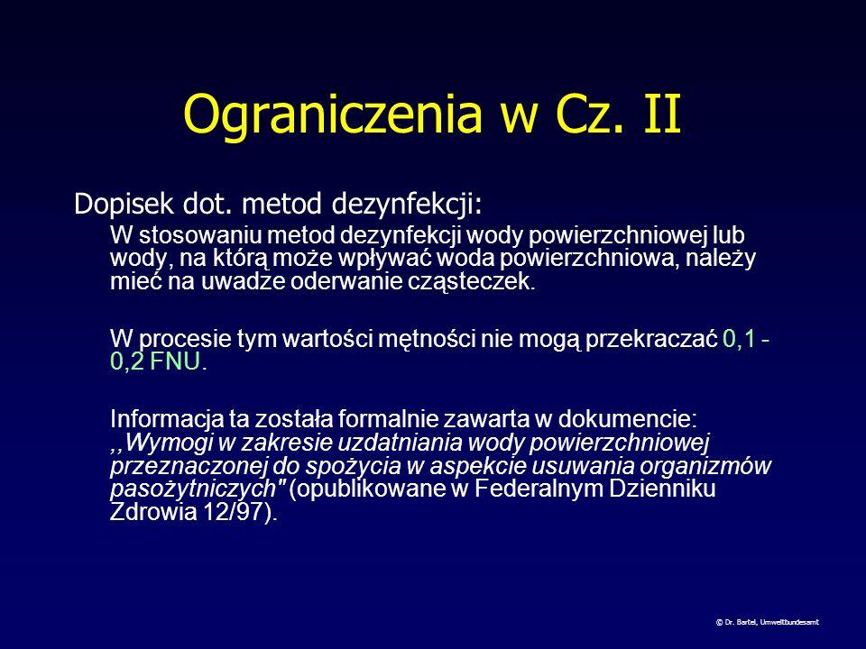 Ograniczenia w Cz. II Dopisek dot. metod dezynfekcji: