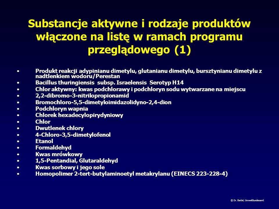 Substancje aktywne i rodzaje produktów włączone na listę w ramach programu przeglądowego (1)