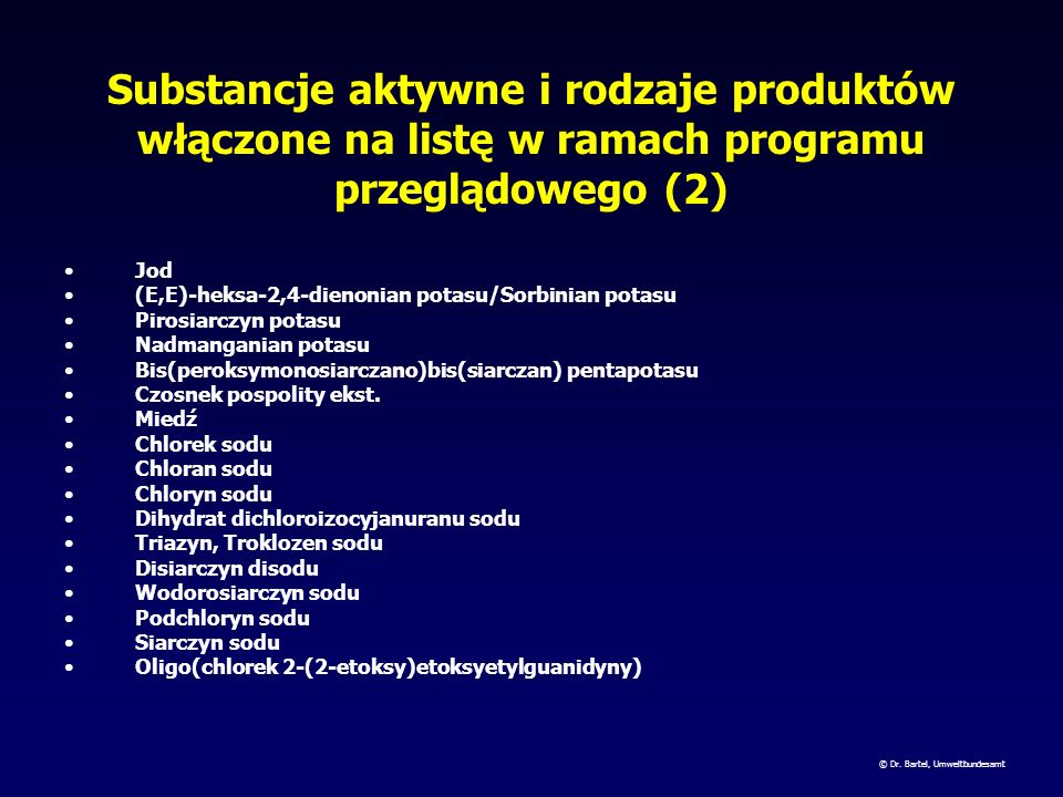 Substancje aktywne i rodzaje produktów włączone na listę w ramach programu przeglądowego (2)