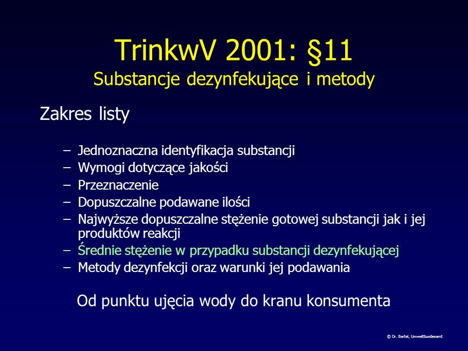 TrinkwV 2001: §11 Substancje dezynfekujące i metody