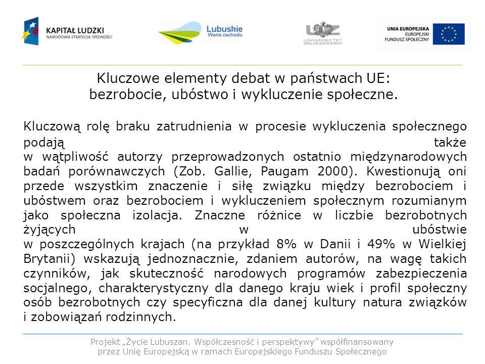 Kluczowe elementy debat w państwach UE: bezrobocie, ubóstwo i wykluczenie społeczne.