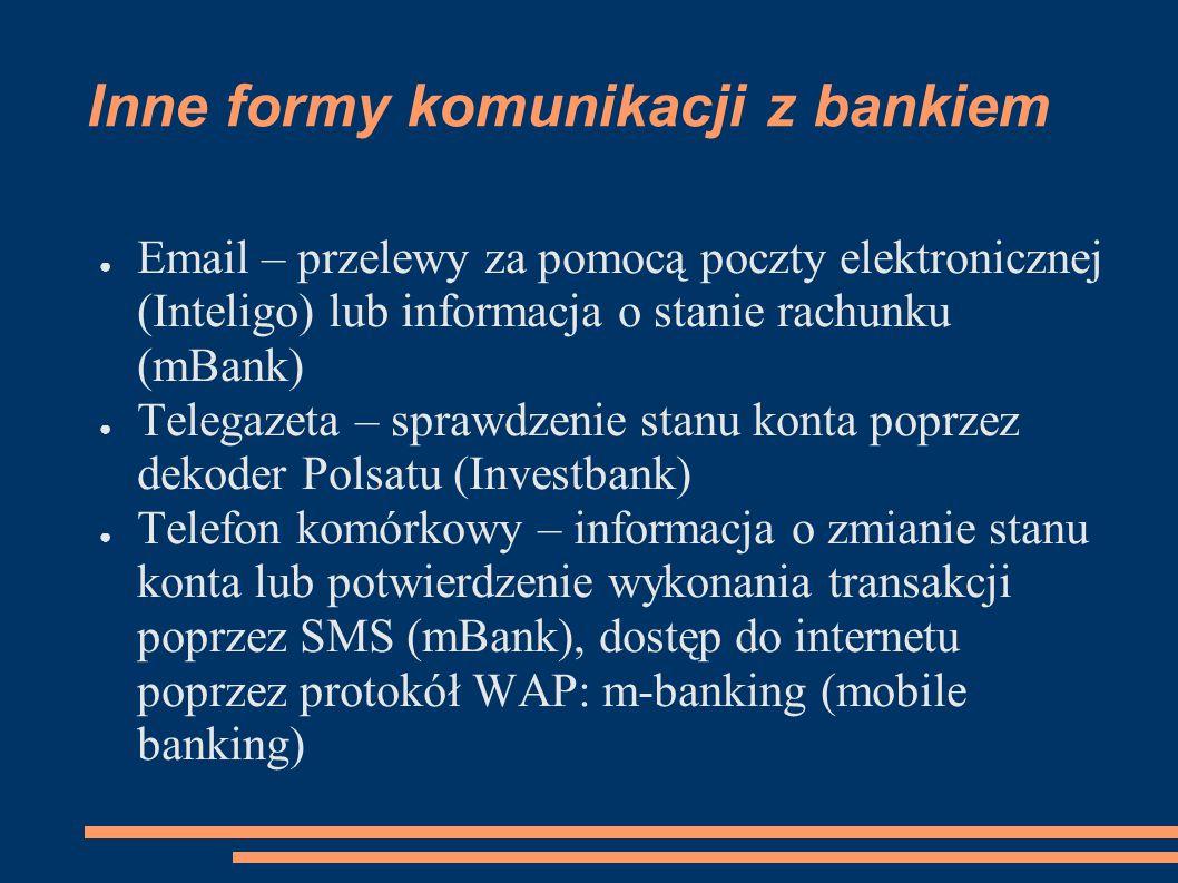 Inne formy komunikacji z bankiem