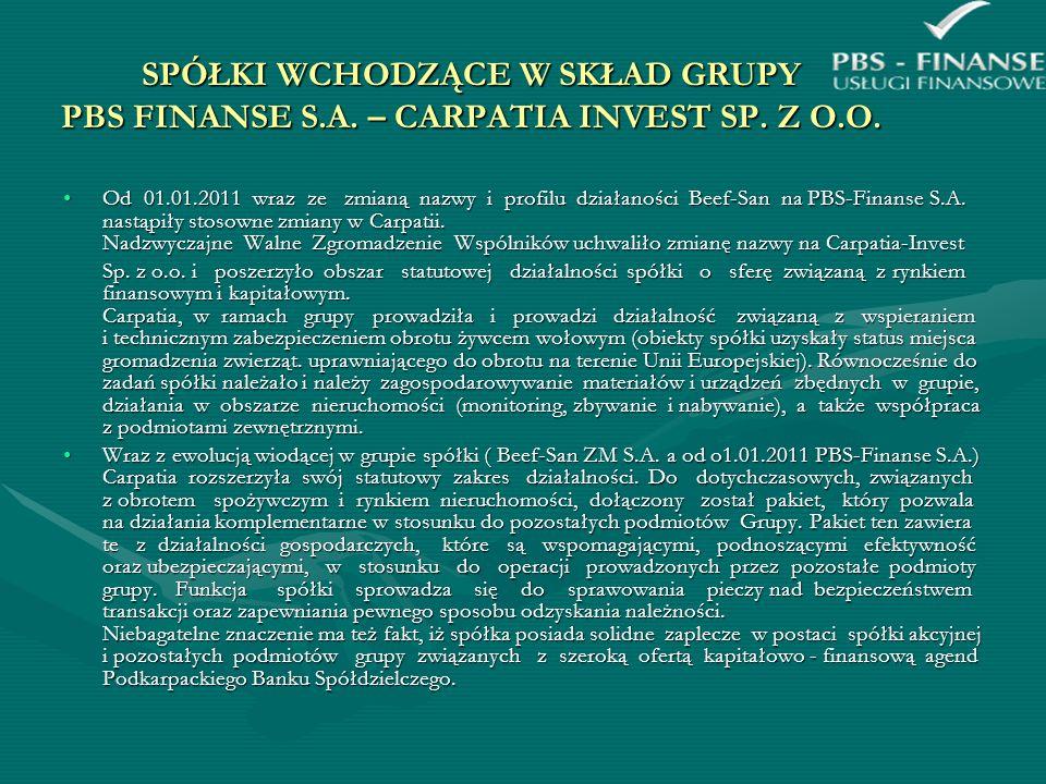 SPÓŁKI WCHODZĄCE W SKŁAD GRUPY PBS FINANSE S. A. – CARPATIA INVEST SP