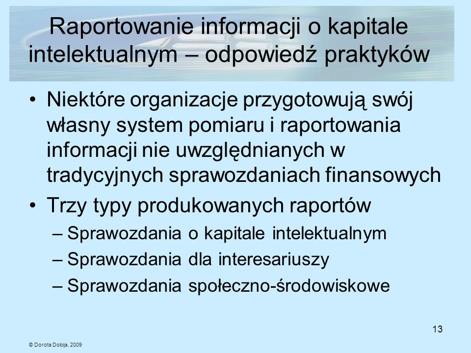 Raportowanie informacji o kapitale intelektualnym – odpowiedź praktyków