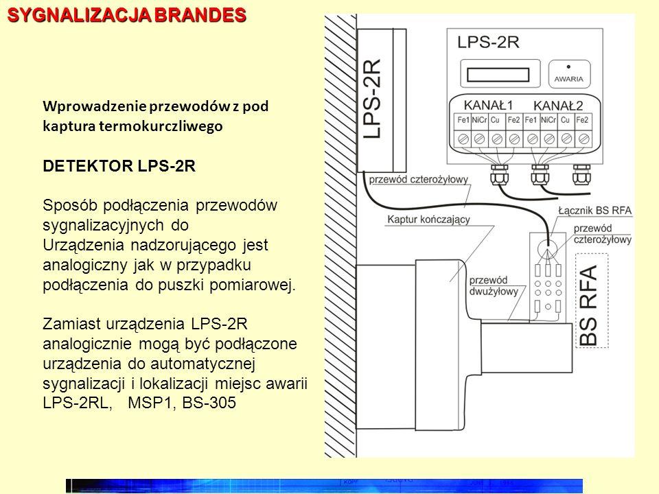 SYGNALIZACJA BRANDES Wprowadzenie przewodów z pod kaptura termokurczliwego. DETEKTOR LPS-2R. Sposób podłączenia przewodów sygnalizacyjnych do.