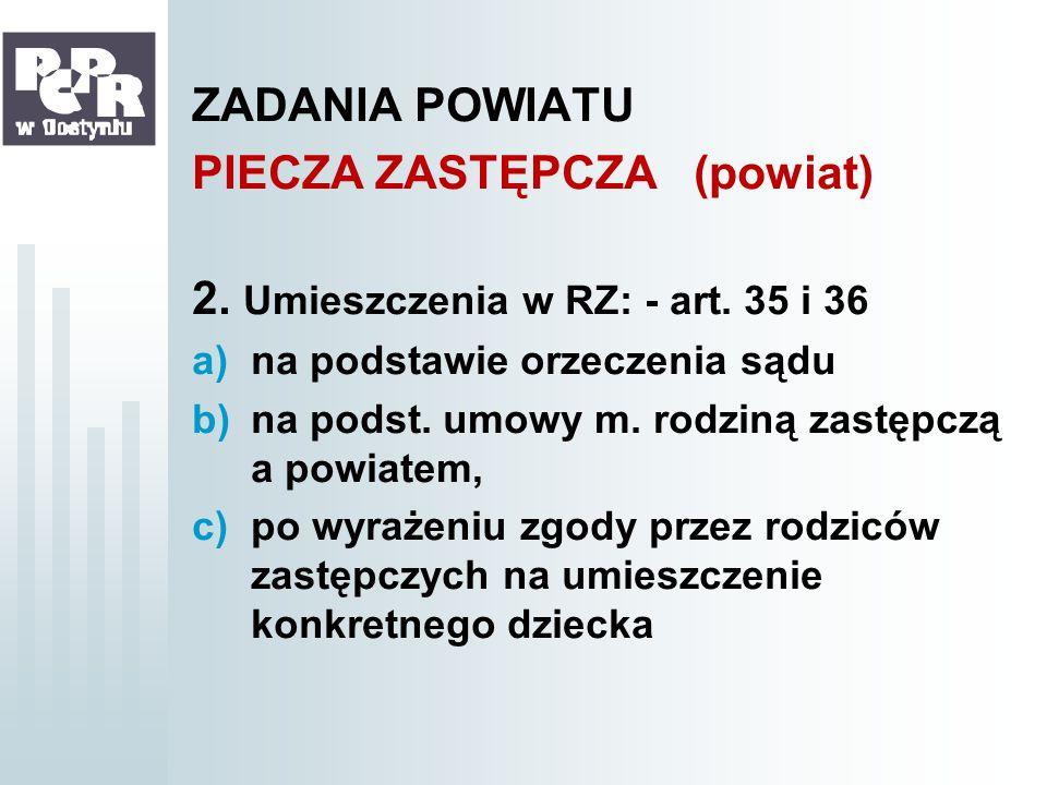PIECZA ZASTĘPCZA (powiat) 2. Umieszczenia w RZ: - art. 35 i 36