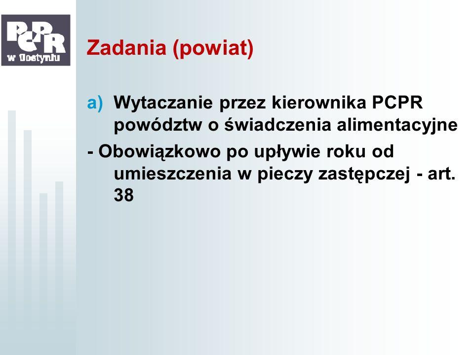Zadania (powiat)Wytaczanie przez kierownika PCPR powództw o świadczenia alimentacyjne.