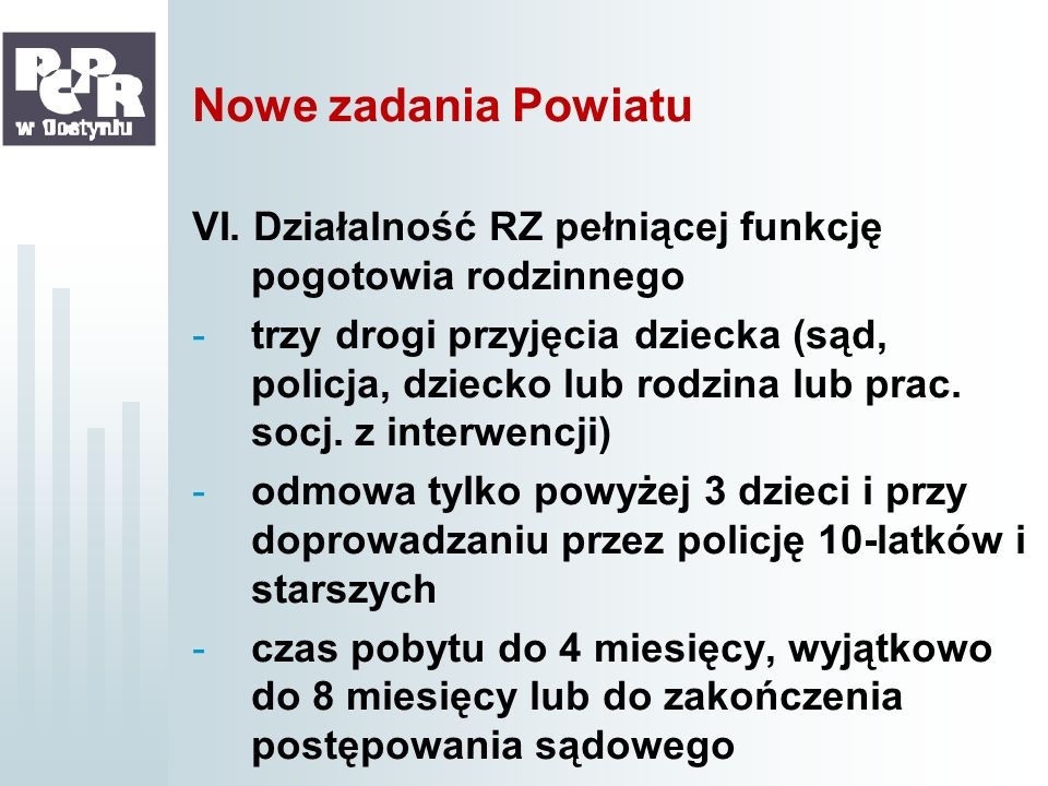 Nowe zadania Powiatu VI. Działalność RZ pełniącej funkcję pogotowia rodzinnego.