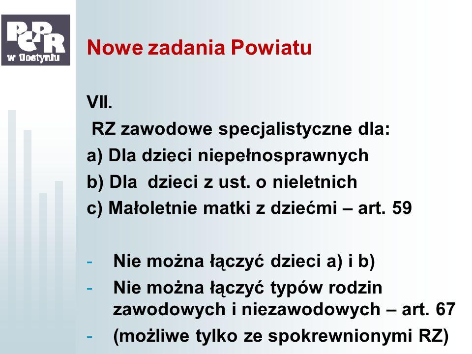 Nowe zadania Powiatu VII. RZ zawodowe specjalistyczne dla: