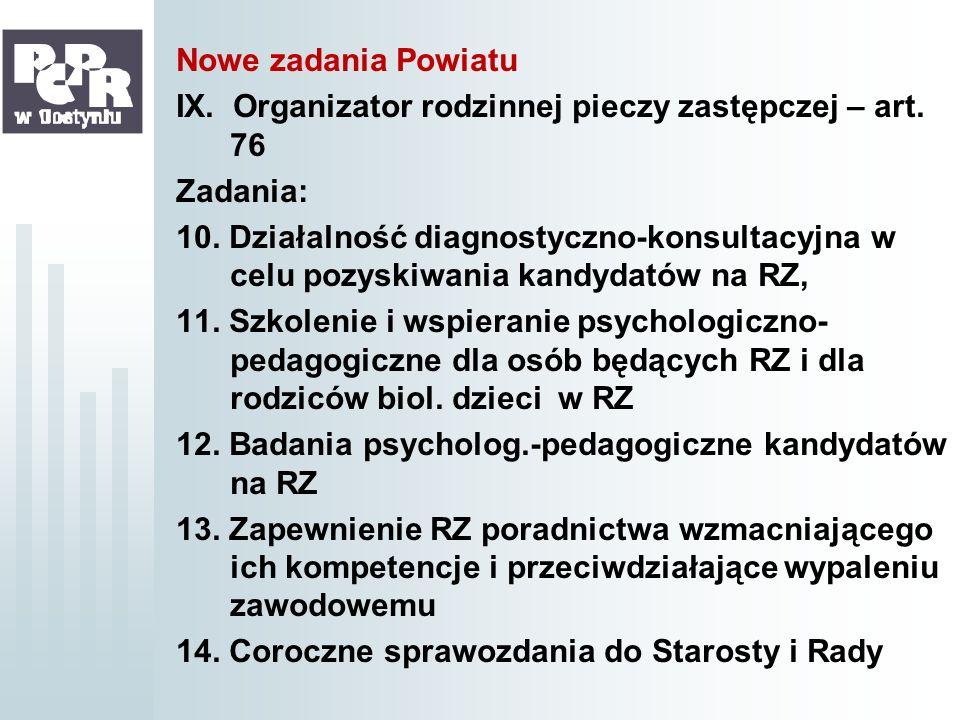 Nowe zadania Powiatu IX. Organizator rodzinnej pieczy zastępczej – art. 76. Zadania: