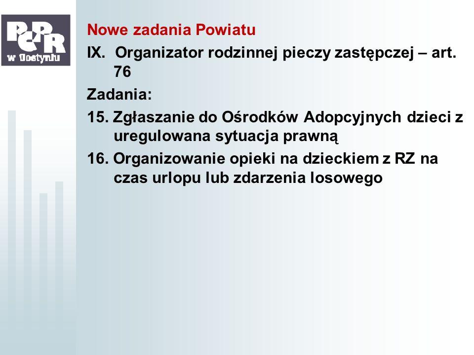 Nowe zadania PowiatuIX. Organizator rodzinnej pieczy zastępczej – art. 76. Zadania: