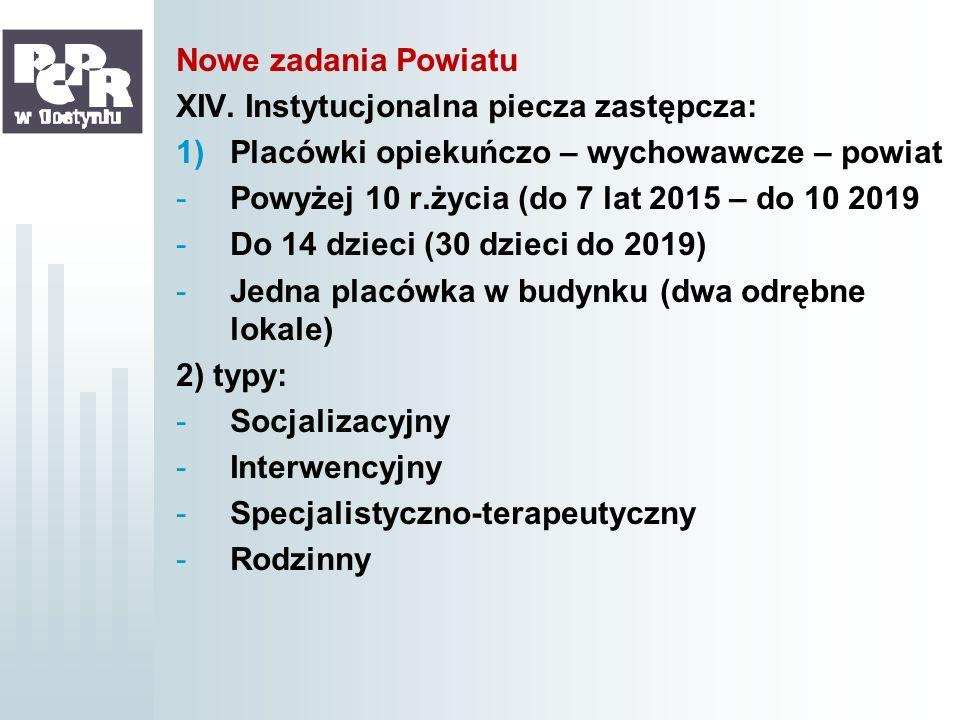 Nowe zadania Powiatu XIV. Instytucjonalna piecza zastępcza: Placówki opiekuńczo – wychowawcze – powiat.