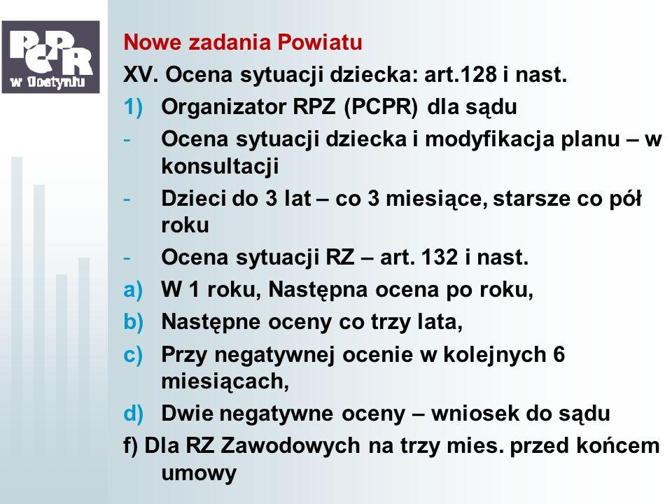 Nowe zadania PowiatuXV. Ocena sytuacji dziecka: art.128 i nast. Organizator RPZ (PCPR) dla sądu.