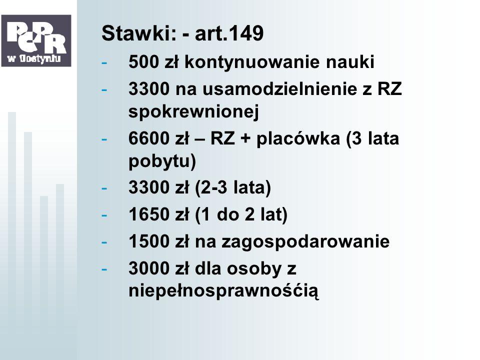 Stawki: - art.149 500 zł kontynuowanie nauki