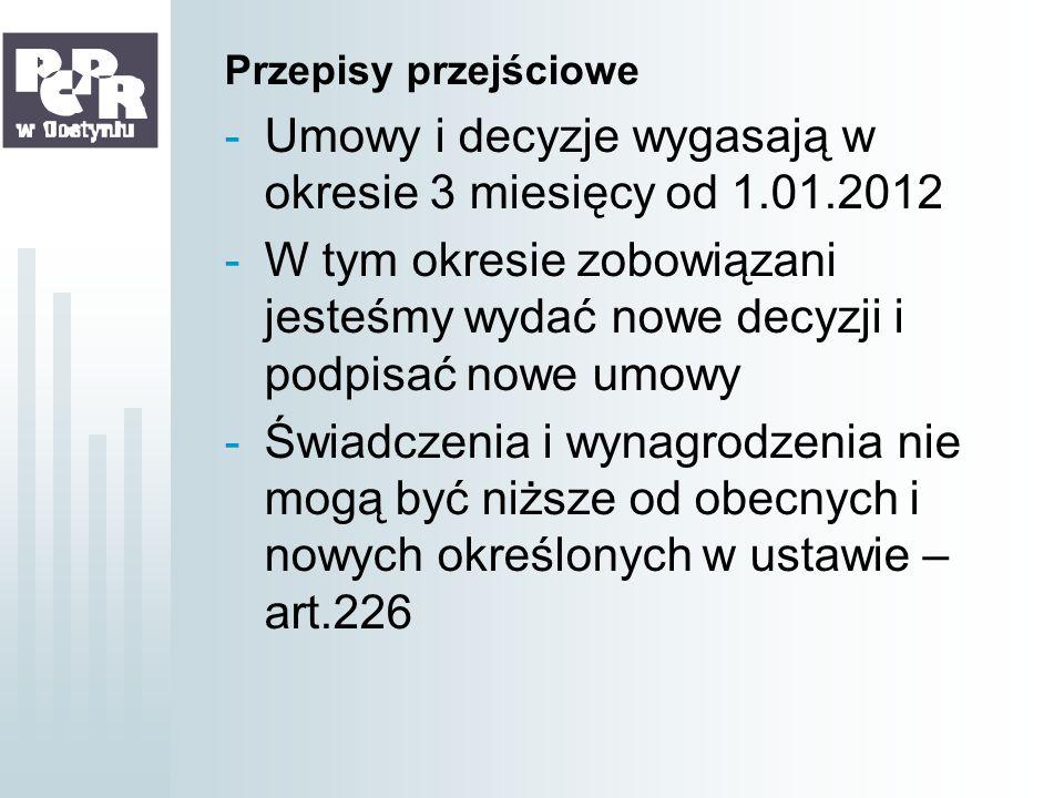 Umowy i decyzje wygasają w okresie 3 miesięcy od 1.01.2012