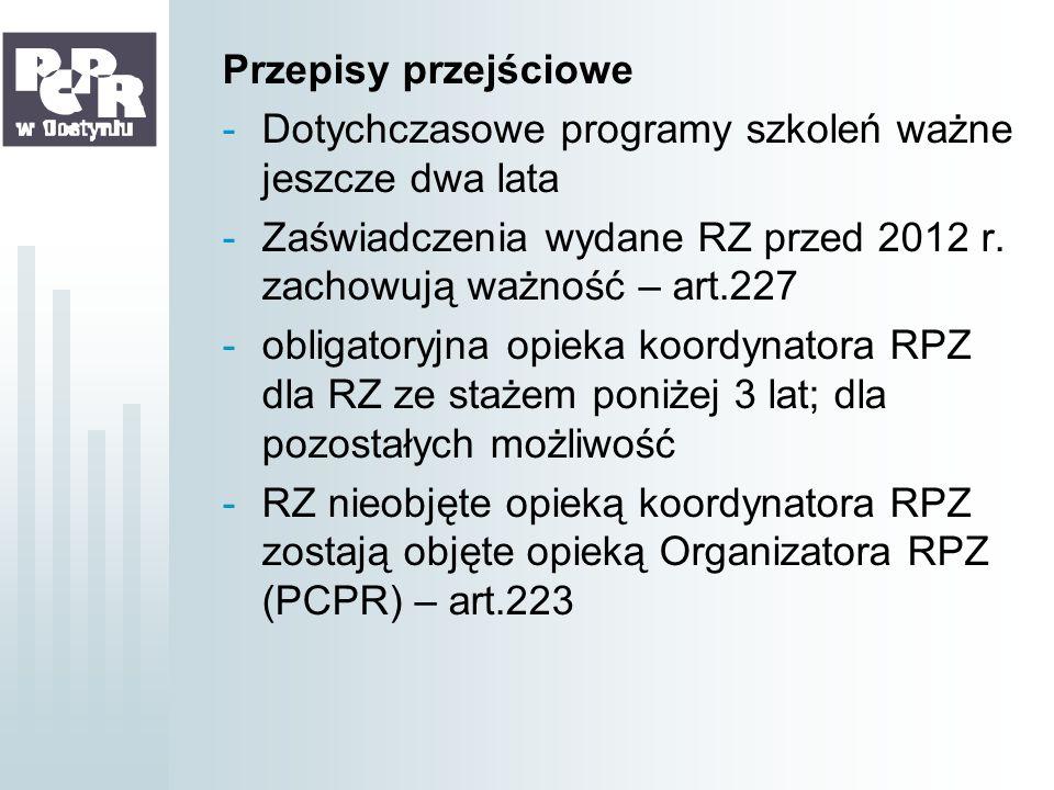 Przepisy przejściowe Dotychczasowe programy szkoleń ważne jeszcze dwa lata. Zaświadczenia wydane RZ przed 2012 r. zachowują ważność – art.227.