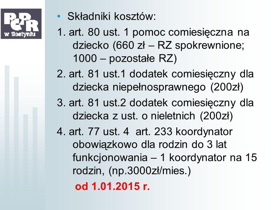 Składniki kosztów: 1. art. 80 ust. 1 pomoc comiesięczna na dziecko (660 zł – RZ spokrewnione; 1000 – pozostałe RZ)