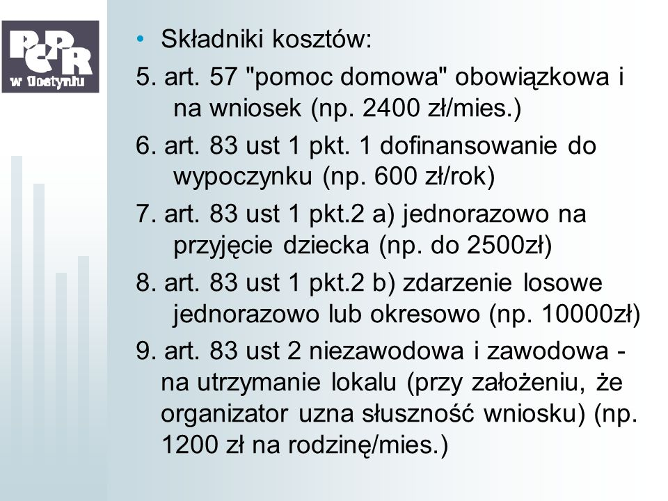 Składniki kosztów:5. art. 57 pomoc domowa obowiązkowa i na wniosek (np. 2400 zł/mies.)