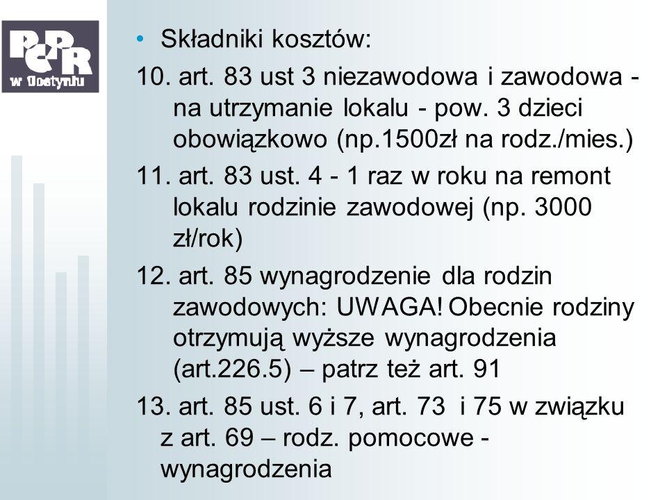 Składniki kosztów:10. art. 83 ust 3 niezawodowa i zawodowa - na utrzymanie lokalu - pow. 3 dzieci obowiązkowo (np.1500zł na rodz./mies.)