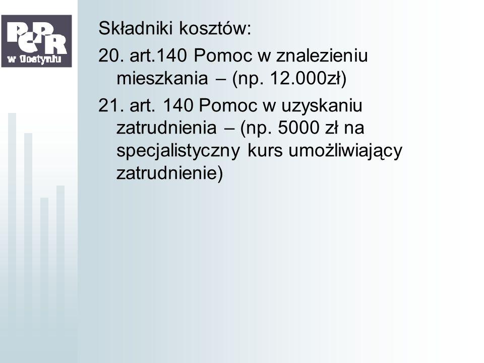 Składniki kosztów: 20. art. 140 Pomoc w znalezieniu mieszkania – (np