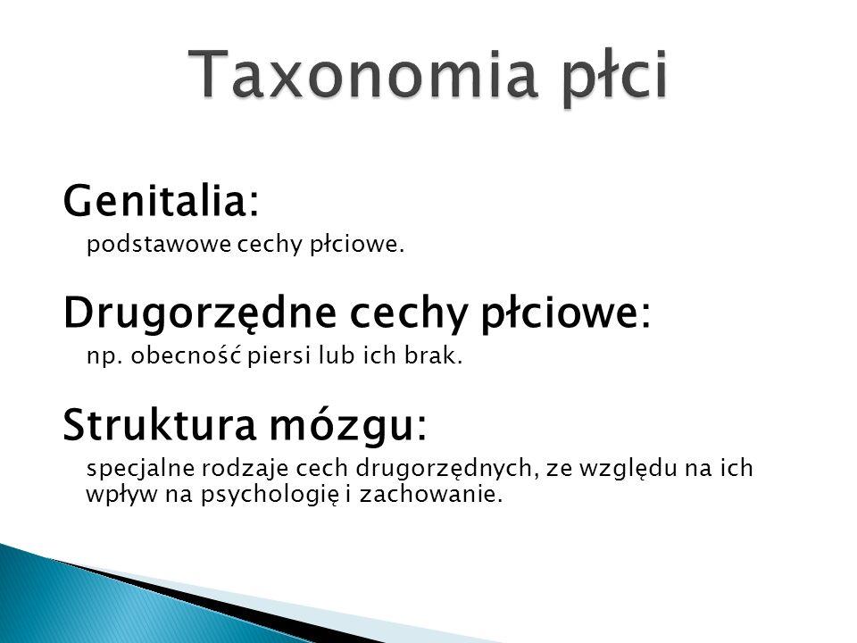 Taxonomia płci Genitalia: Drugorzędne cechy płciowe: Struktura mózgu: