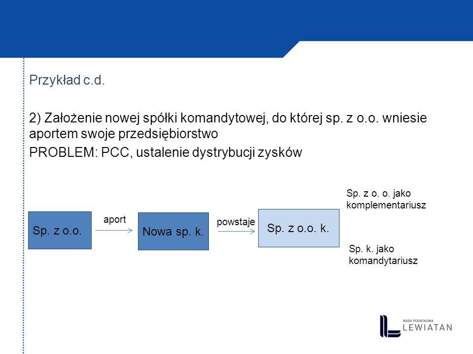 Przykład c. d. 2) Założenie nowej spółki komandytowej, do której sp