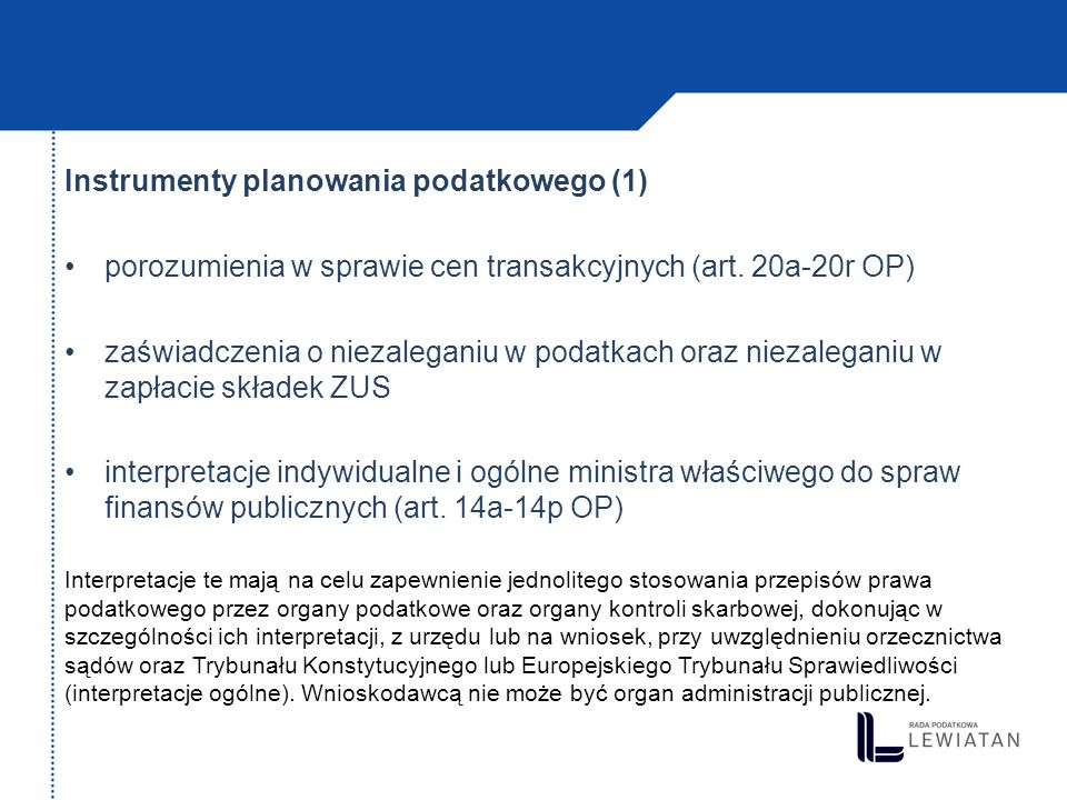 Instrumenty planowania podatkowego (1)
