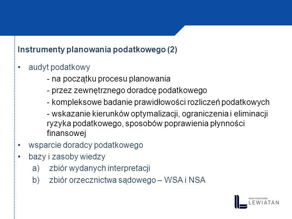 Instrumenty planowania podatkowego (2)