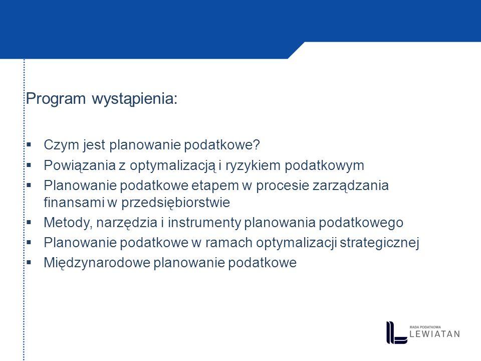 Program wystąpienia: Czym jest planowanie podatkowe