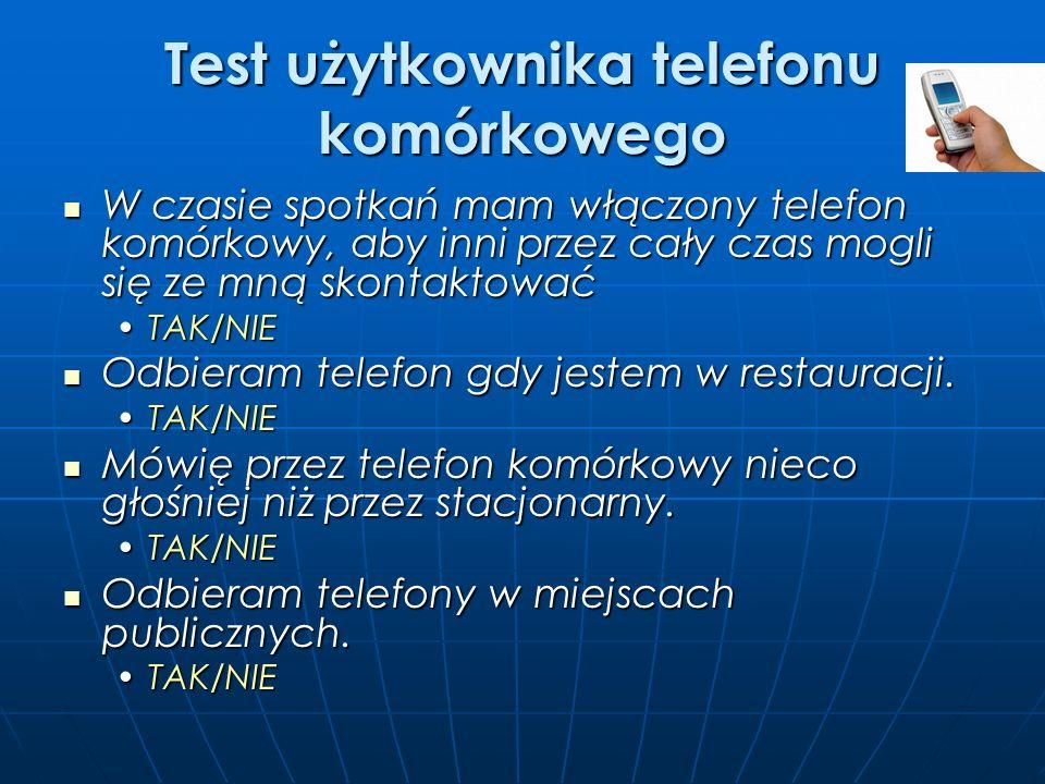Test użytkownika telefonu komórkowego