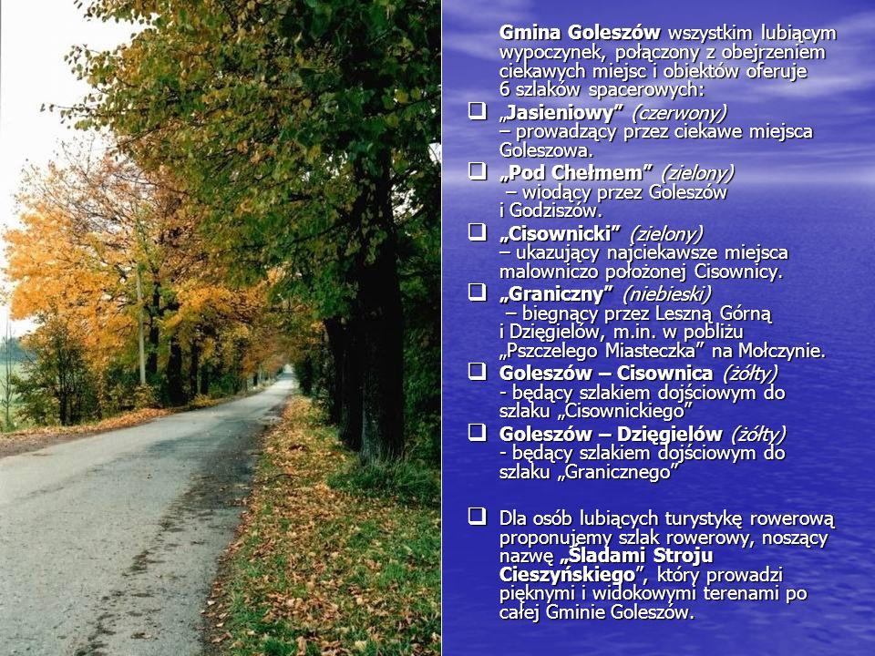 Gmina Goleszów wszystkim lubiącym wypoczynek, połączony z obejrzeniem ciekawych miejsc i obiektów oferuje 6 szlaków spacerowych:
