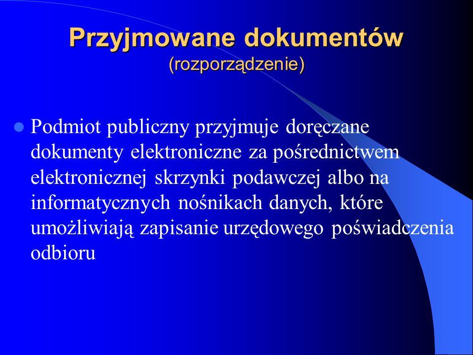 Przyjmowane dokumentów (rozporządzenie)