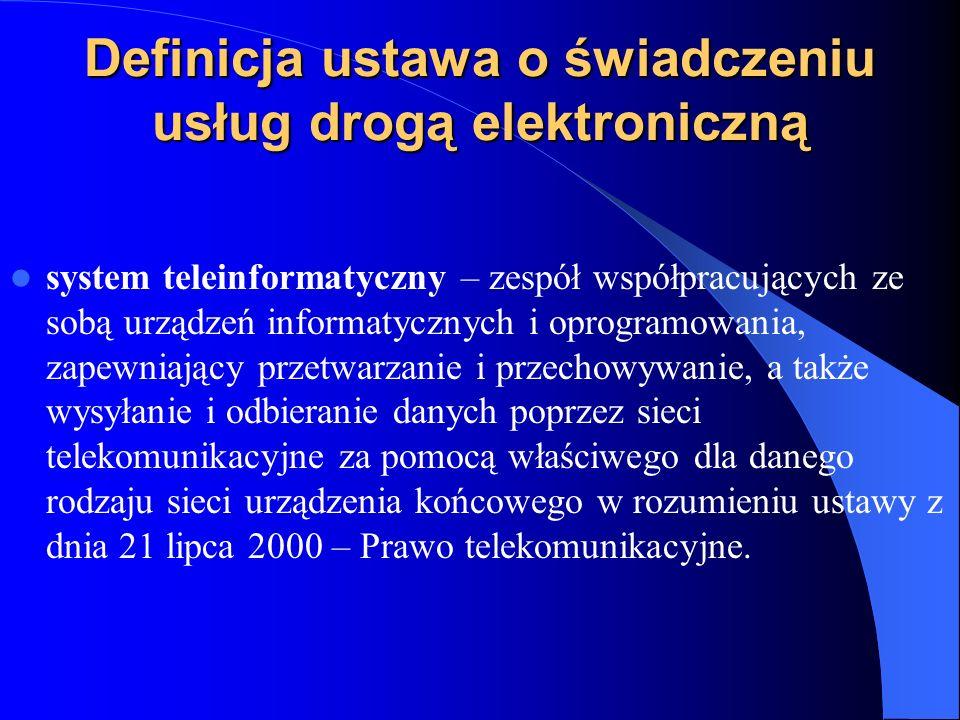 Definicja ustawa o świadczeniu usług drogą elektroniczną