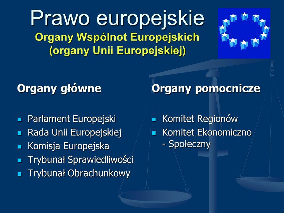 Prawo europejskie Organy Wspólnot Europejskich (organy Unii Europejskiej)