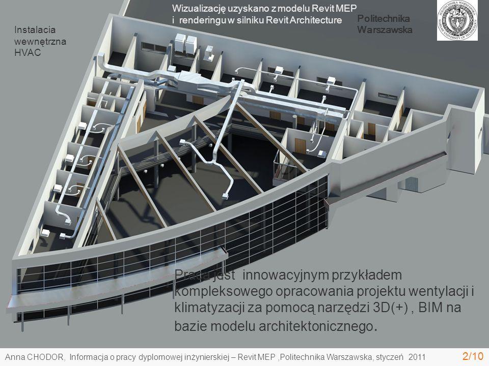 Wizualizację uzyskano z modelu Revit MEP i renderingu w silniku Revit Architecture