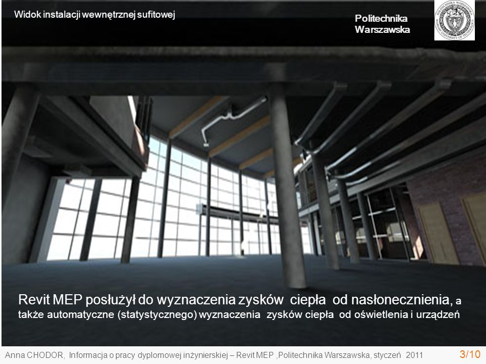 Widok instalacji wewnętrznej sufitowej