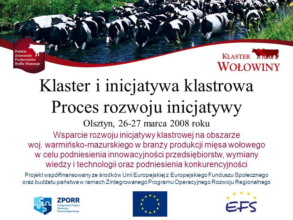 Klaster i inicjatywa klastrowa Proces rozwoju inicjatywy Olsztyn, 26-27 marca 2008 roku