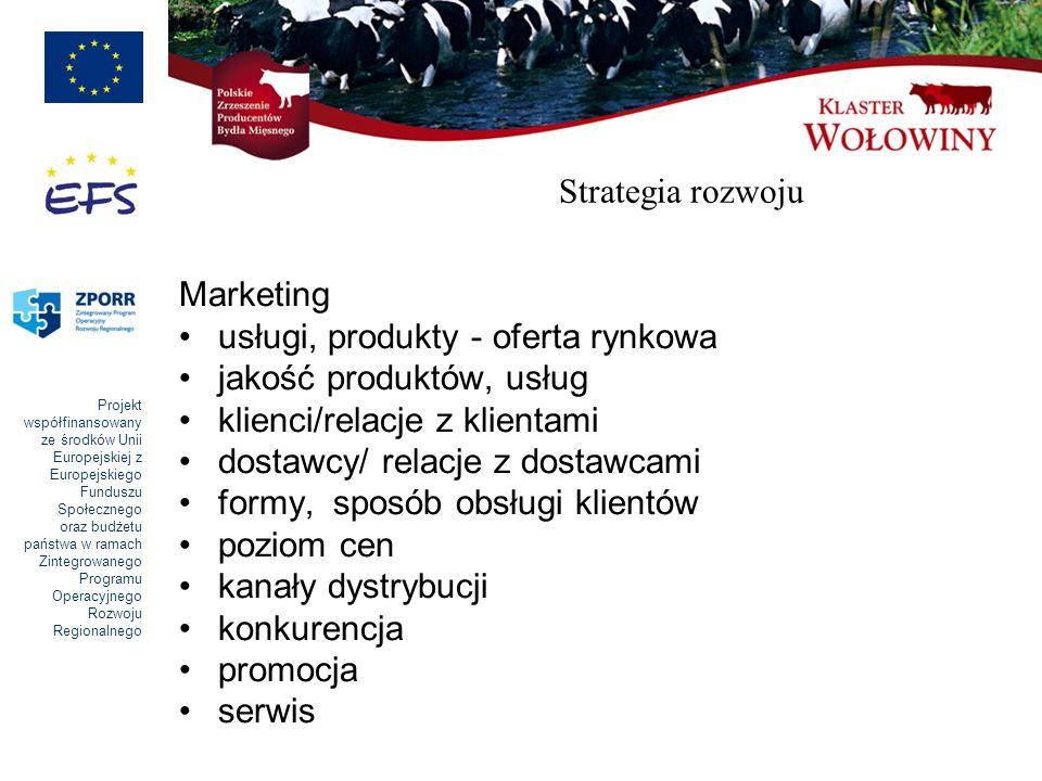 Strategia rozwoju Marketing. usługi, produkty - oferta rynkowa. jakość produktów, usług. klienci/relacje z klientami.