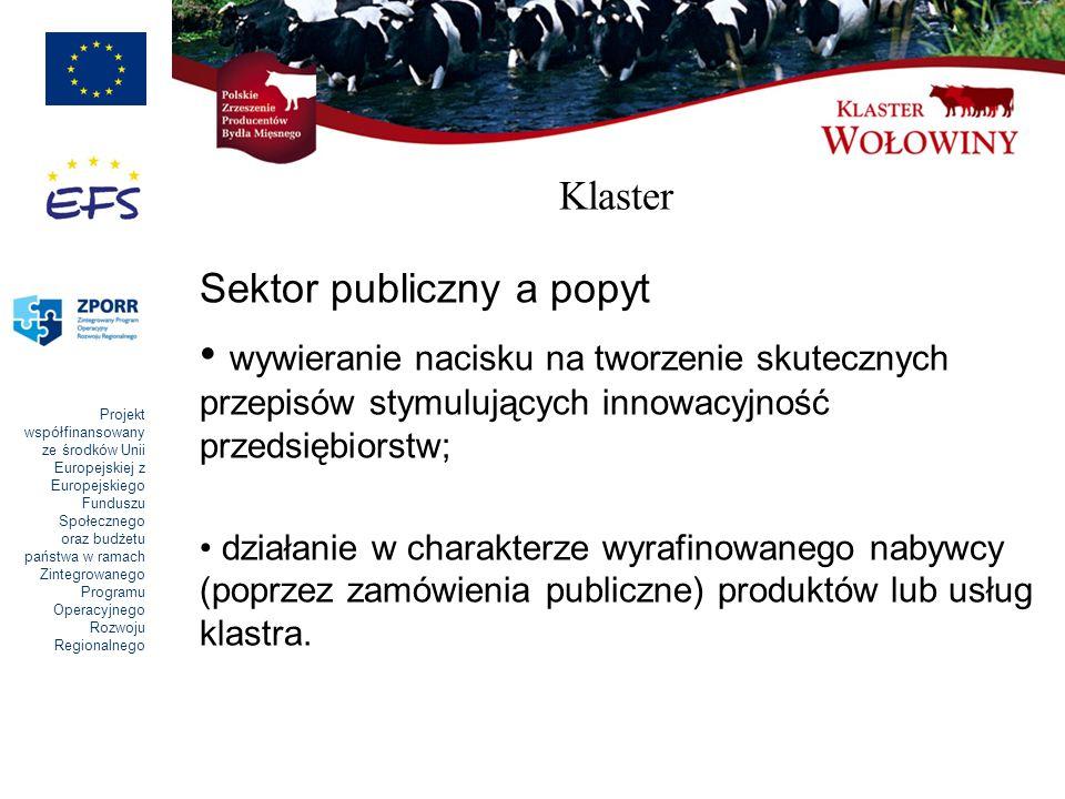 Klaster Sektor publiczny a popyt. wywieranie nacisku na tworzenie skutecznych przepisów stymulujących innowacyjność przedsiębiorstw;