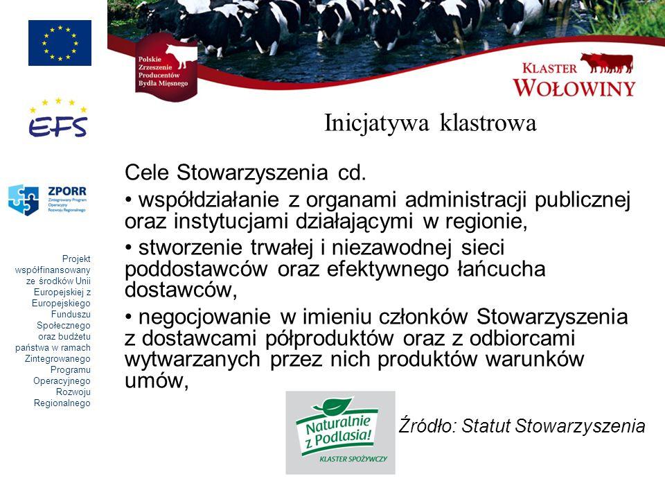 Inicjatywa klastrowa Cele Stowarzyszenia cd.