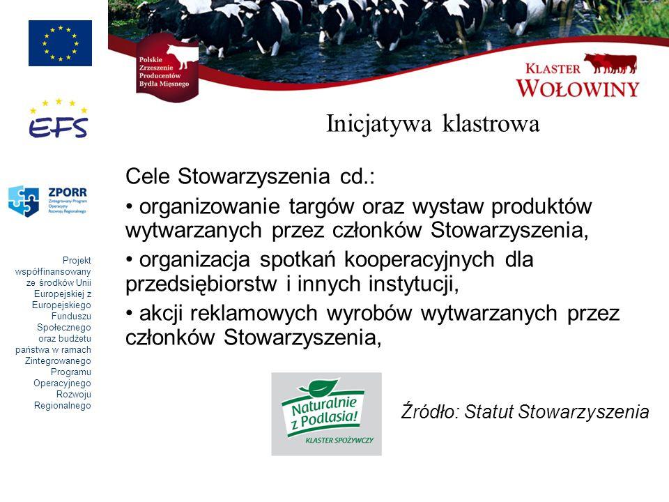 Inicjatywa klastrowa Cele Stowarzyszenia cd.: