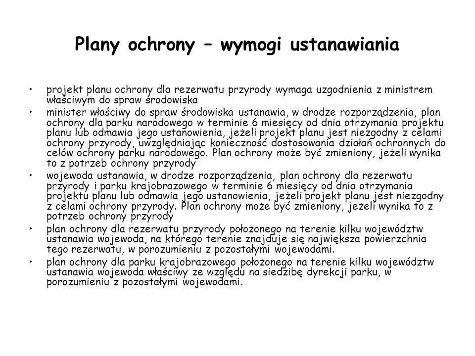 Plany ochrony – wymogi ustanawiania