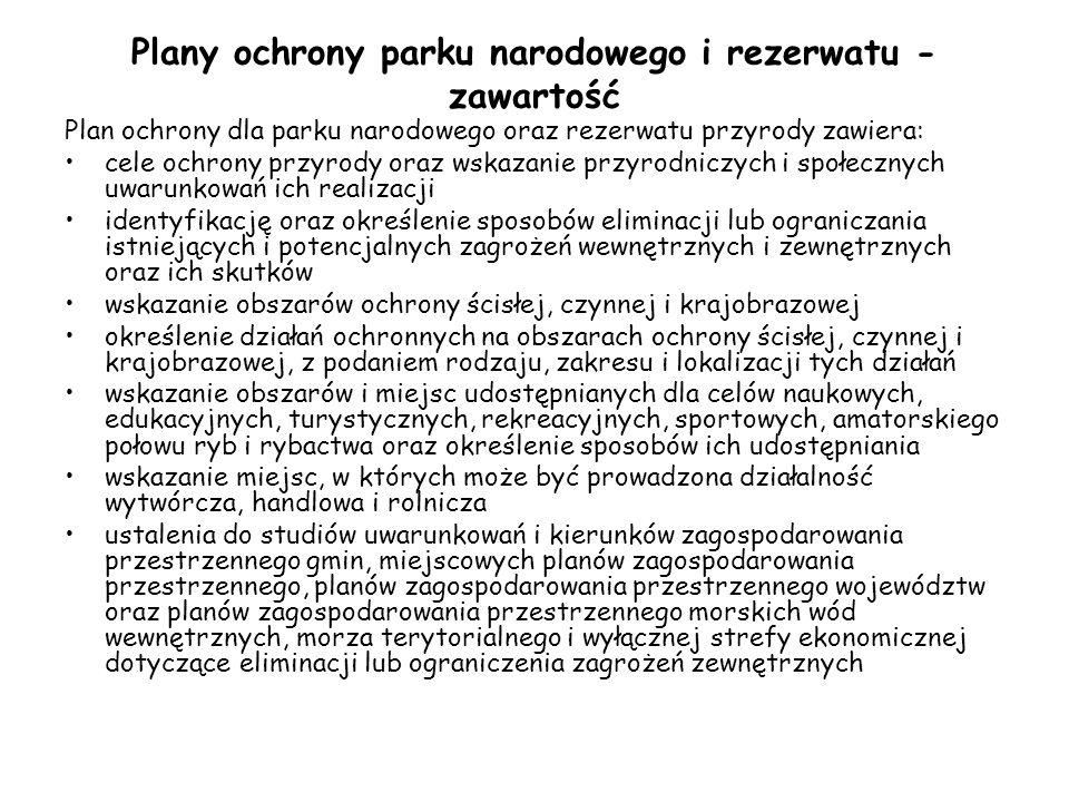 Plany ochrony parku narodowego i rezerwatu - zawartość